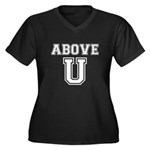 Above U Women's Plus Size V-Neck Dark T-Shirt