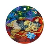 Yorkie Santa Dreams Ornament (Round)