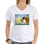 Sailboats / Eng Spring Women's V-Neck T-Shirt