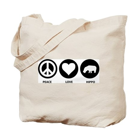 Peace Love Hippo Tote Bag