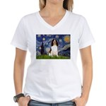 Starry Night / Eng Spring Women's V-Neck T-Shirt