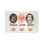 Peace Love Bake Bakers Baking Rectangle Magnet (10