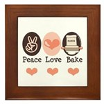 Peace Love Bake Bakers Baking Framed Tile