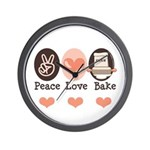 Peace Love Bake Bakers Baking Wall Clock