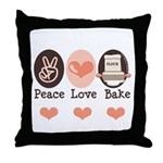 Peace Love Bake Bakers Baking Throw Pillow