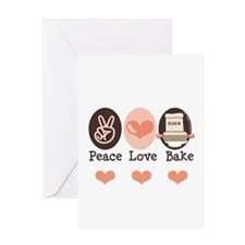 Peace Love Bake Bakers Baking Greeting Card