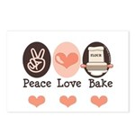 Peace Love Bake Bakers Baking Postcards (Package o