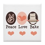 Peace Love Bake Bakers Baking Tile Coaster
