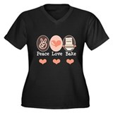 Peace Love Bake Bakers Baking Women's Plus Size V-