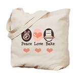 Peace Love Bake Bakers Baking Tote Bag