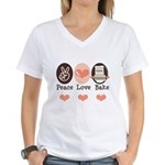 Peace Love Bake Bakers Baking Women's V-Neck T-Shi