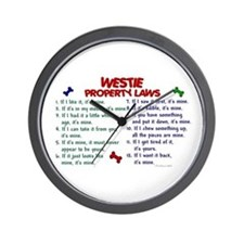 Westie Property Laws 2 Wall Clock