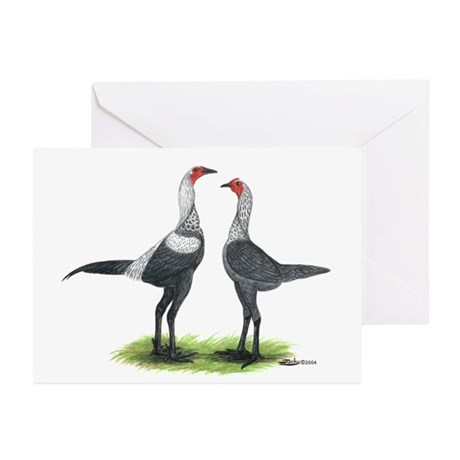 Modern Games Silver Blue Greeting Cards (Pk of 10)