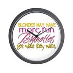 Brunettes Get What They Want Wall Clock