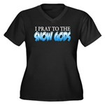 Snow Gods Women's Plus Size V-Neck Dark T-Shirt