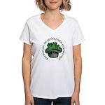 Shamrocks (Gaelic) Women's V-Neck T-Shirt