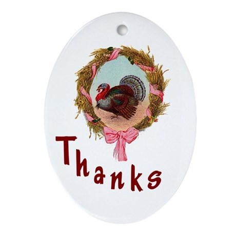 Thanks Turkey Oval Ornament