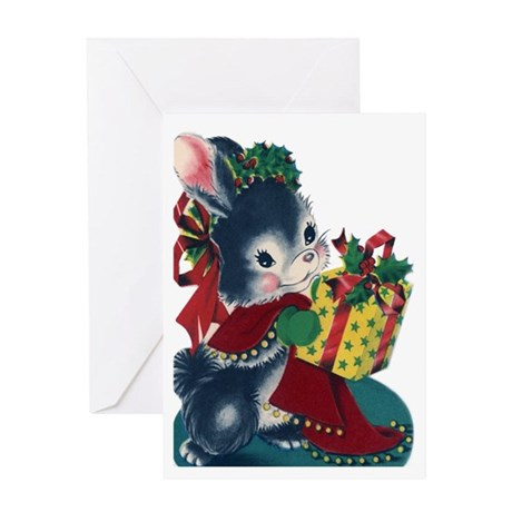 Vintage Style Mouse Christmas Greeting Card.