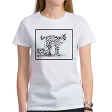 Two Servals in grass Tee