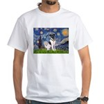 Starry / Fox Terrier (#1) White T-Shirt