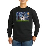Starry / Fox Terrier (#1) Long Sleeve Dark T-Shirt