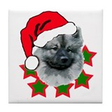 keeshond christmas Tile Coaster