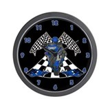 Checkered Flag Sport Bike Wall Clock