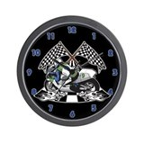 Checkered Flag Race Bike Wall Clock