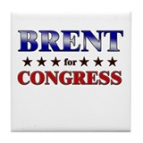 BRENT for congress Tile Coaster