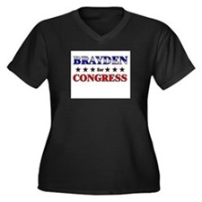 BRAYDEN for congress Women's Plus Size V-Neck Dark