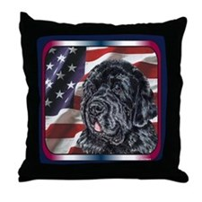 Newfoundland Dog Patriotic USA Flag Throw Pillow