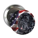 Newfoundland Dog 2.25&quot; USA Flag Button (10 pack)