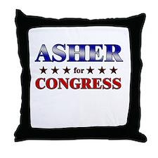 ASHER for congress Throw Pillow