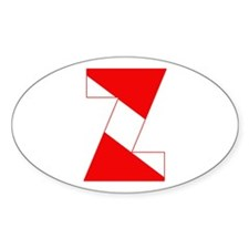 Scuba Flag Letter Z Oval Decal