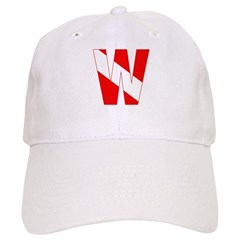 http://i1.cpcache.com/product/189260256/scuba_flag_letter_w_baseball_cap.jpg?color=White&height=240&width=240