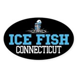 Ice Fish Connecticut Oval Bumper Stickers