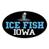 Ice Fish Iowa Oval Bumper Stickers
