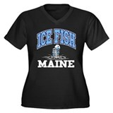 Ice Fish Maine Women's Plus Size V-Neck Dark T-Shi