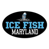 Ice Fish Maryland Oval Bumper Stickers