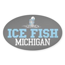 Ice Fish Michigan Oval Decal