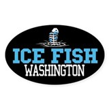 Ice Fish Washington Oval Bumper Stickers