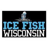 Ice Fish Wisconsin Rectangle Bumper Stickers