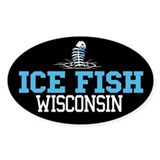 Ice Fish Wisconsin Oval Bumper Stickers