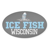 Ice Fish Wisconsin Oval Decal
