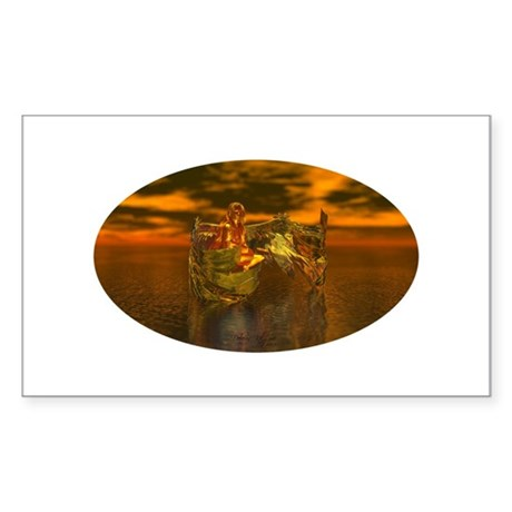 Golden Angel Rectangle Sticker