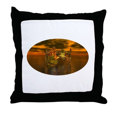Golden Angel Throw Pillow