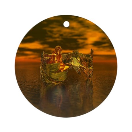 Golden Angel Ornament (Round)
