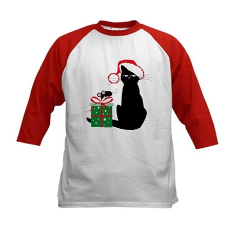 Santa Cat & Mouse Kids Baseball Jersey