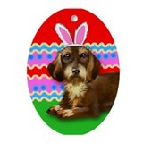 Wire Haired Dachshund Easter Bunny Keepsake (Oval)