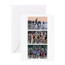 GROUP TRIATHLON TRIPTYCH PAINTING Greeting Card